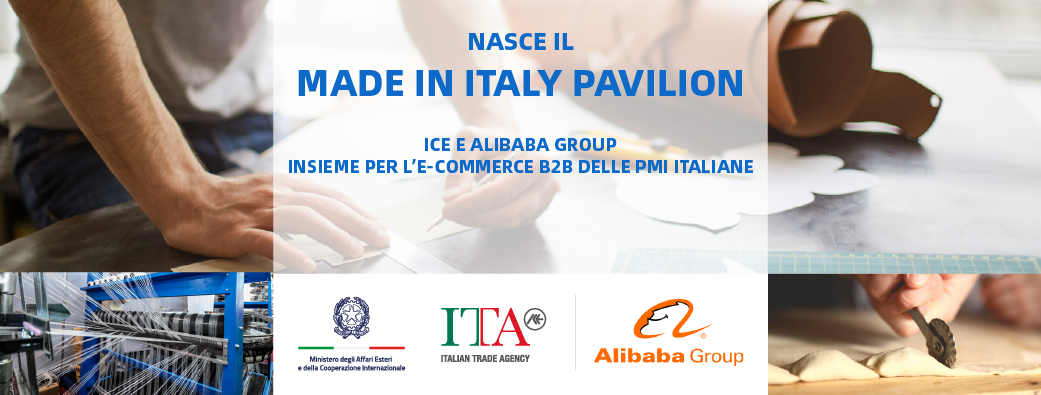 Banner Made in Italy Pavilion ICE e Alibaba Group